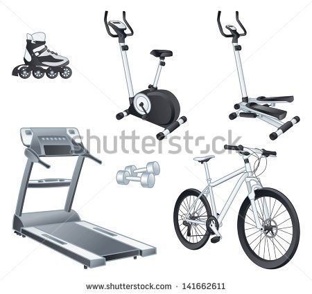 stock-vector-fitness-and-sport-equipment-rollers-stationary-bicycle-stepper-treadmill-dumbbells-bicycle-141662611