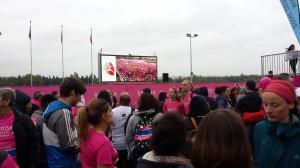 45 000 personnes au départ...Le début de la course sur grand écran ...