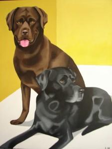 Paps, labrador noir Dalton, labrador chocolat Portrait à partir de 2 photos car ils se sont succédés