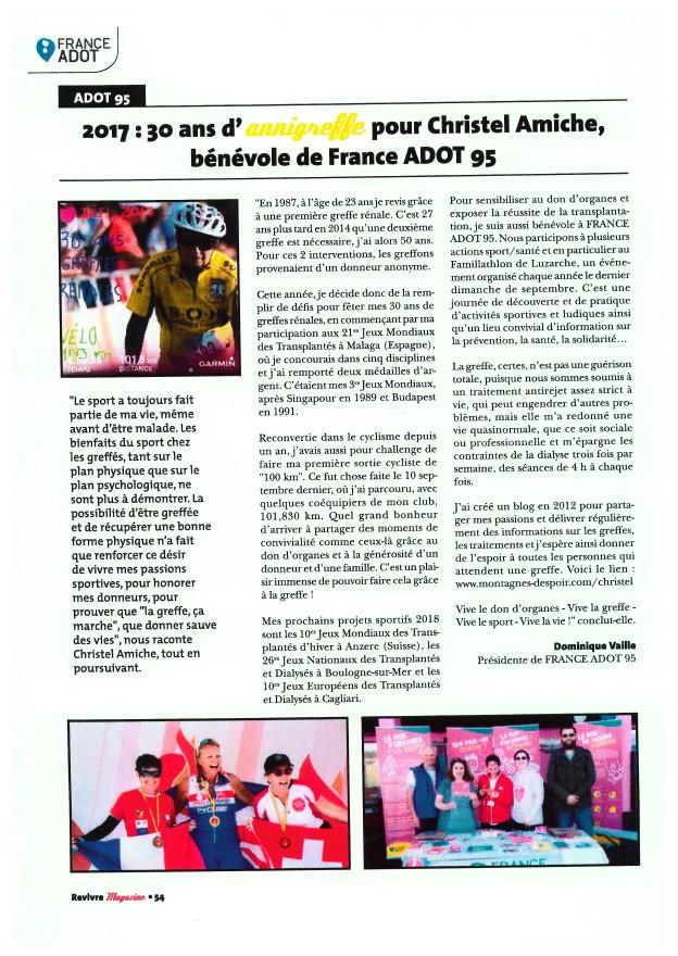 """Article paru dans """"REVIVRE"""" de janvier 2018"""
